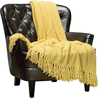 Chanasya Textured Knitted Super Soft Throw Blanket with Tassels Warm Cozy Plush Lightweight Fluffy Woven Blanket for Bed Sofa Chair Couch Cover Living Bed Room Acrylic Throw Blanket(50