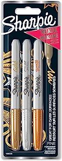 Sharpie marqueurs métalliques permanents, pointe fine, assortiment de couleurs métalliques, pochette de3