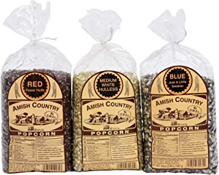 Amish Country Popcorn - 3 (2 lb bags) Red, Medium White, Blue Kernels Gift Set - Old Fashioned, Non GMO, Gluten Free, Microwaveable, Stovetop and Air Popper Friendly with Recipe Guide