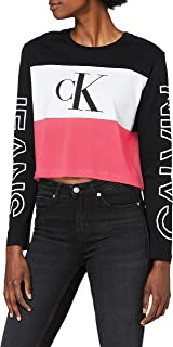 Calvin Klein Women's BLOCKING STATEMENT LOGO LS TEE L/S T-Shirt