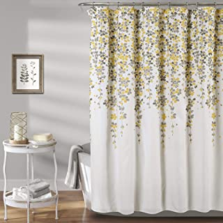 "Lush Decor Weeping Flower Shower Curtain - Fabric Floral Vine Print Design, 72"" x 72"", Yellow and Gray"