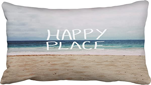 Tarolo Decorative Hot Sale My Happy Place Beach Throw Pillow Size 20x36 Inches 51x92cm One Sided