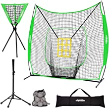 Zupapa Baseball Softball Practice Set - 7 by 7 Feet Net Tee Caddy 12 Baseballs Combo with Strike Zone, Baseball Backstop P...
