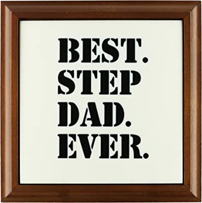 3dRose ft_151491_1 Best Step Dad Ever Gifts for Family and Relatives Stepdad Stepfather Good for Fathers Day Framed Tile, 8 by 8-Inch
