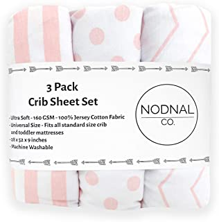 NODNAL CO. Pink Fitted Crib Sheets Set 3 Pack Standard Baby or Toddler Mattress Jersey Knit Cotton Girl Nursery Bedding - ...