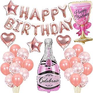 Termichy Globos Metalicos Globos de Cumpleaños de 41 Piezas con Botella de Cerveza y Copa de Vino (Rosado)