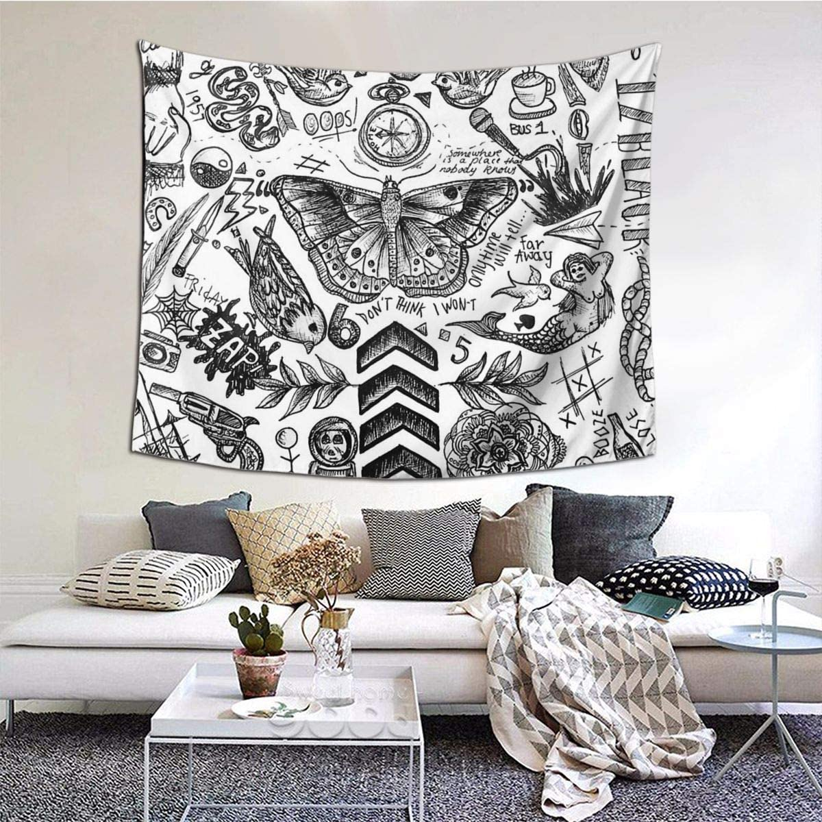 One Direction Tattoos Home Decor Art Wall Hanging Bedroom Living Room Dorm Tapestry 60 X 51 Inch
