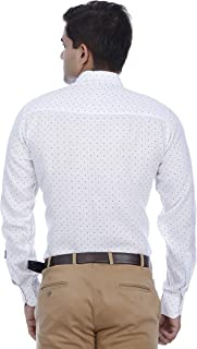 EL FIGO Men's White Color Printed Full Sleeve Poly Cotton Casual Shirt Classic Collar, Sizes S - XXL