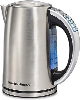 کتری برقی ساحل همیلتون ، چای و بخاری آب گرم ، درجه حرارت متغیر ، سرویس بدون سیم ، گرم نگه داشتن ، چراغ نرم LED آبی (41020) ، 1.7 لیتر ، فولاد ضد زنگ