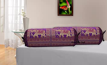 RJKART Brocade & Polydupion Silk Decorative Bolster Covers for Deewan Sofa Diwan Set Bed Mattress for Living Room Bed Room Guest Room Cushion Protector Cover Home and Office 30x15 inches Set of 2 Pcs