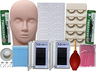 Professional Eyelash Extension Supplies Training Kit With Mannequin Head Individual Lashes For Beginners Practice Starter Tool Set