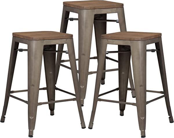 Poly And Bark Trattoria 24 Counter Height Stool With Elmwood Seat In Bronze Set Of 3