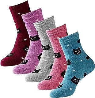 5 pares de calcetines de lana para mujer, patrón lindo de gatos de dibujos animados, calcetines de punto gruesos y cálidos para invierno (2019 nuevo)