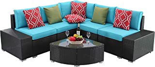 Do4U 6 PCs Outdoor Patio PE Rattan Wicker Sofa Sectional Furniture Set Conversation Set- Seat Cushions & Glass Coffee Table| Patio, Backyard, Pool| Steel Frame (Turquoise)
