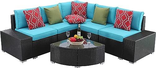 Do4U 6 PCs Outdoor Patio PE Rattan Wicker Sofa Sectional Furniture Set Conversation Set- Seat Cushions & Glass Coffee Table| Patio, Backyard, Pool| Steel Frame (Turquoise)