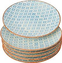 Nicola Spring Patterned Side, Dessert & Cake Plates - Blue / Orange Print Design, 18 cm - Set of 6