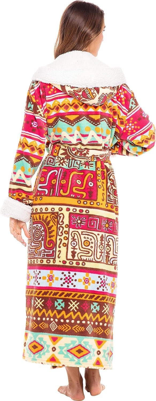 Long Plush Sherpa Bathrobe Alexander Del Rossa Womens Warm Fleece Robe with Hood