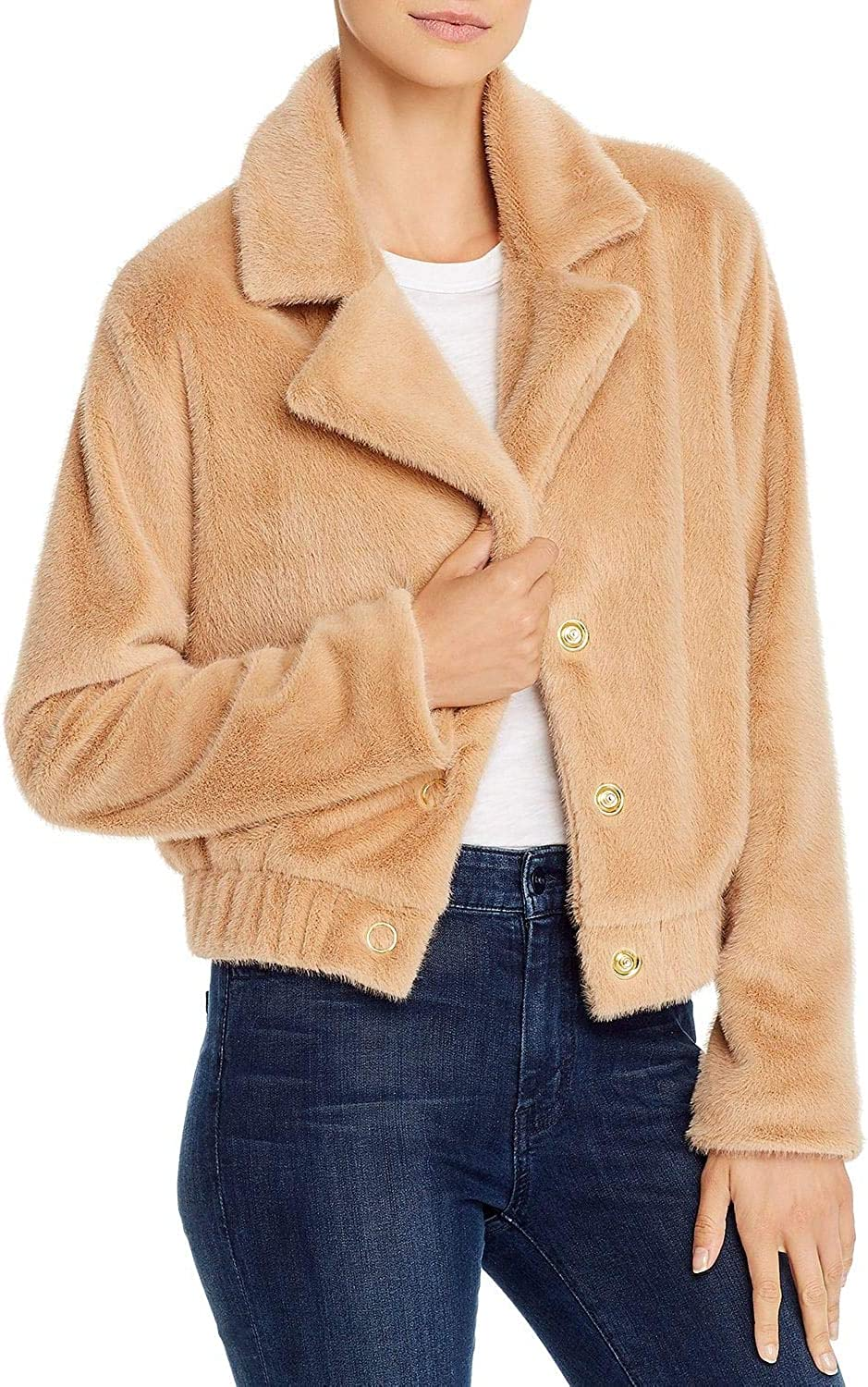findersKEEPERS Women's Sugar Faux Fur Collared Bomber Jacket