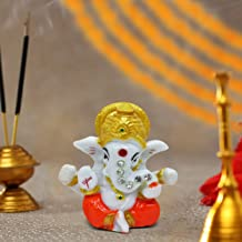 TIED RIBBONS Ganesha Statue Sculpture Idol for Car Dashboard Home Temple Decor (2 X 2.3 Inch, L X H)