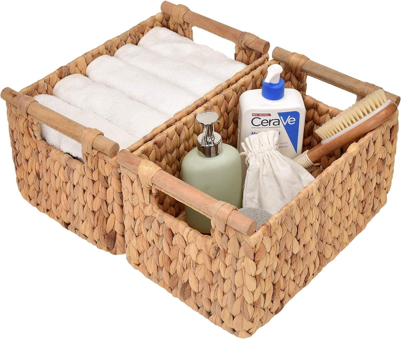 StorageWorks Hand-Woven Spring new work Overseas parallel import regular item Storage Baskets Wooden Wat with Handles