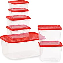 All Time Plastics Polka Container Set, 7-Pieces, Red