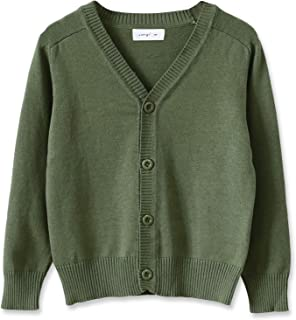 Boys' Button-up Cardigan with Elbow Patches V-Neck Cotton Knit Sweater Casual Outerwear
