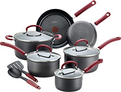 T-fal Ultimate Hard Anodized Dishwasher Safe Nonstick Cookware Set, 12-Piece, Red