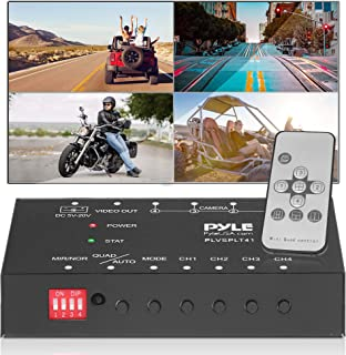 4-Channel Car Video Splitter Controller - Digital Picture Video Signal Switcher with Quad Selectable for Backup Camera Vid...