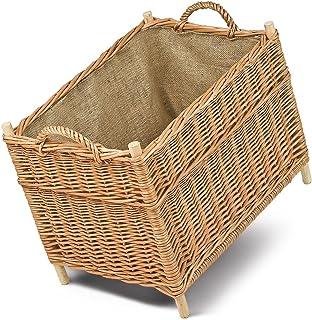 Cesta para leña, madera cesta, cesta para leña, mimbre,