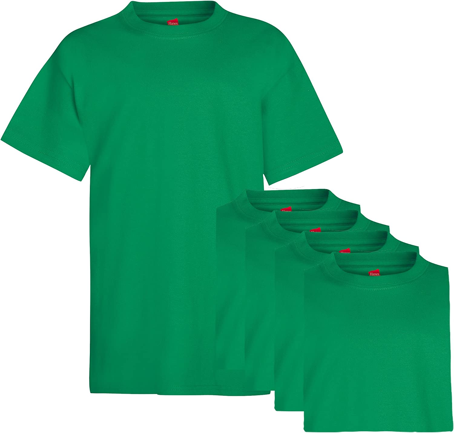 Hanes Boys' 5 Pack Ultimate ComfortSoft Crew, Kelly Green, Large