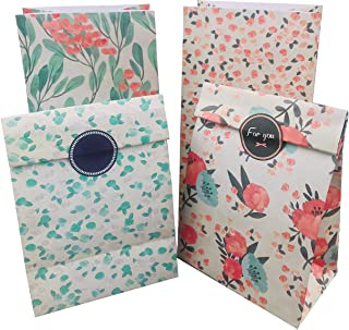 Floral Paper Gift Bags, 12pcs Party Favor Bags Vintage CandyTreat Bags with Thank You Stickers