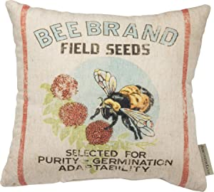 Primitives by Kathy Feedsack-Inspired Throw Pillow, 12 x 12-Inches, Bee Brand