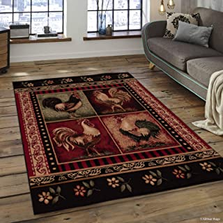 Allstar 5x7 Red and Black Cabin Rectangular Accent Rug with Ivory and Green Wildlife Rooster Design(5' 2