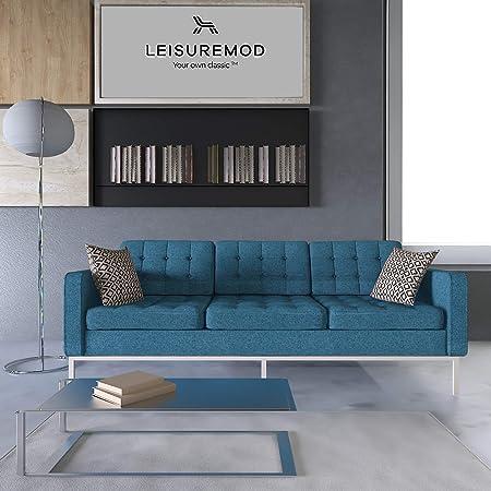 LeisureMod Florence Style Mid Century Modern Tufted Sofa (Blue Twill Wool)