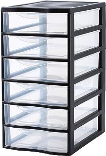 SUNDIS 4289001 Tour de Rangement Format A4 6 tiroirs avec Poignée ergonomique Système d'Arrêt à l'Ouverture, Plastique, Noir