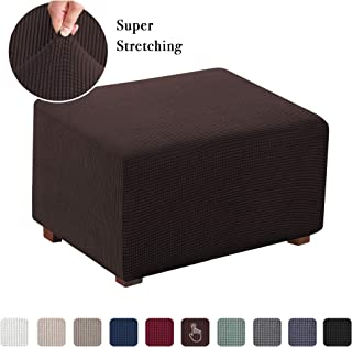 Stretch Ottoman Slipcover Folding Storage Stool Furniture Protector Soft Rectangle Slipcover with Elastic Bottom(Normal Size Ottoman, Chocolate Brown)