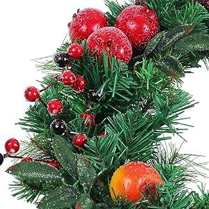 "U'Artlines 24"" Christmas Garland Front Door Wreath, Artificial Christmas Hanging Wreath for Home Party Indoor Outdoor Window Wall Wedding Party Decoration (24''-Fruits)"
