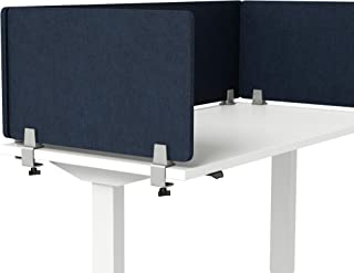 """VaRoom Acoustic Desktop Privacy Divider, 29""""W x 18""""H Sound Absorbing Clamp-on Cubicle Desk Divider Partition Panel in Dark Blue Tackable Fabric"""