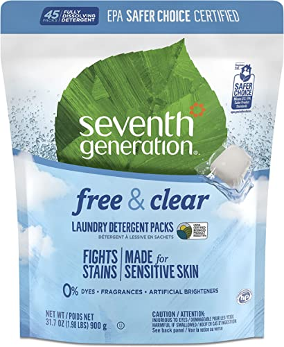 Seventh Generation Laundry Detergent Packs for sensitive skin Free & Clear no dyes, synthetic fragrances or artificia...