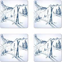 Ambesonne Winter Coaster Set of 4, Sketchy Graphic of a Downhill with Ski Elements in Snow Relax Calm View, Square Hardboard Gloss Coasters, Standard Size, White Blue
