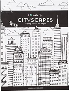 American Crafts Creative Zen Coloring Book Cityscapes, 8.5-x-11-inch