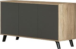 HomeSouth - Mueble Aparador 3 Puertas Buffet para Cocina y Comedor Modelo Soto Acabado en Color Roble y Grafito Medida...