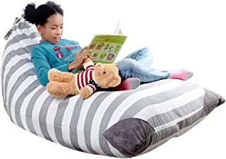 XL Stuffed Animal Storage Bean Bag Cover By mylola - premium quality cotton canvas cover that makes comfy lounger - fits 2...