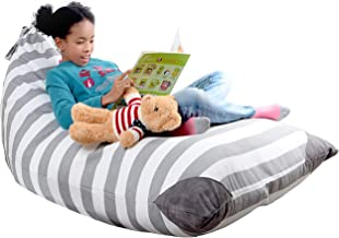 XL Stuffed Animal Storage Bean Bag Chair by mylola | Premium Quality Cotton Canvas Cover | Kids Soft Toy Organizer fits 20...