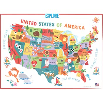 Swiftmaps 18x24 United States USA US Children's Wall Map Mural Poster Laminated for Kids