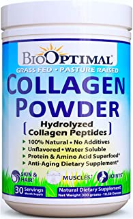 BioOptimal Collagen Powder, Collagen Peptides, Grass Fed, Non-GMO Premium Quality Hydrolyzed Collagen Protein, Pasture Raised, Dissolves Easily, 300 Grams