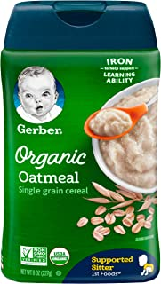 Gerber Organic Single-Grain Oatmeal Baby Cereal, 8 Ounces (Pack of 6)
