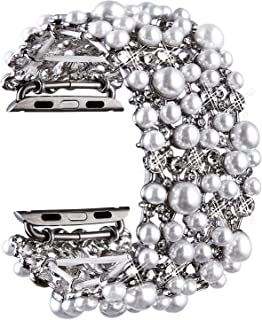 Viqiv Bling Bands for Compatitle Apple Watch 38mm 40mm 42mm 44mm Iwatch Series 5 4 3 2 1, Diamond Rhinestone Metal Bracelet Wristband Strap for Women