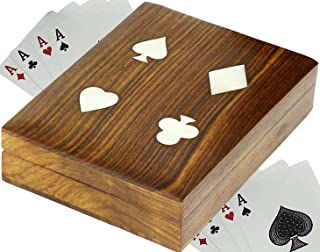 SKAVIJ Handmade Wooden Playing Card Case for 2 Deck of Cards (Brown)