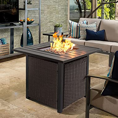 Propane Fire Pit Table Wicker 28in 40,000 BTU, Patio Outdoor LP Rattan Gas FirePit Steel Tabletop with Lid and Fire Glass Bea